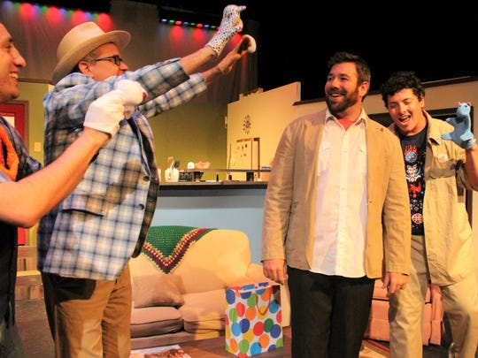 "Angelo Civic Theatre's production of ""The Boys Next Door"" features (from left) Pedro Ramirez as Lucien, Jon Mark Hogg as Arnold, Lance Turner as Jack, Wade Sorrells as Norman and JoAnn Burke-Maestas as Sheila."