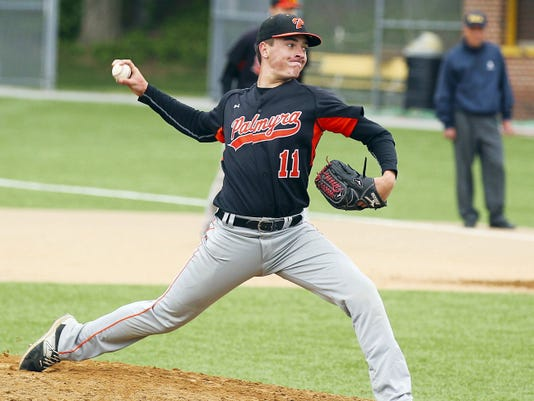 Palmyra's Trevor Gill pitches during the Cougars' 3-2 loss to Donegal in the District Three Class AAA tournament quarterfinals on Thursday at Red Lion High School.