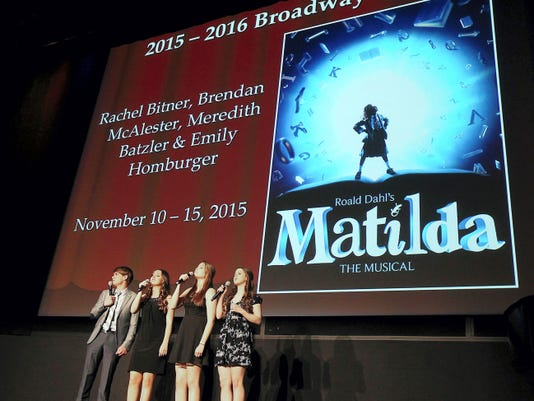 """Hershey Theatre announced their 2015-16 Broadway season on Thursday, April 2, 2015. The season will include """"Once"""", """"Matilda"""", """"Cinderella"""" and """"Ragtime"""". A preview of """"Matilda"""" is sung by, from left, Brendan McAlester, Rachel Bitner, Meredith Batzler and Emily Homburger. Vicki Vellios Briner - Lebanon Daily News"""