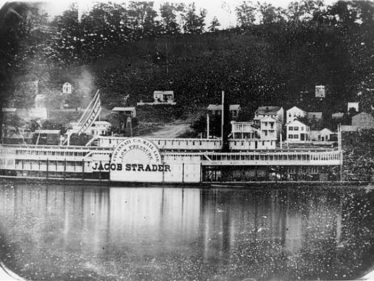 The mail steamboat Jacob Strader, built in Cincinnati in 1853, was used to transport wounded soldiers during the Civil War.