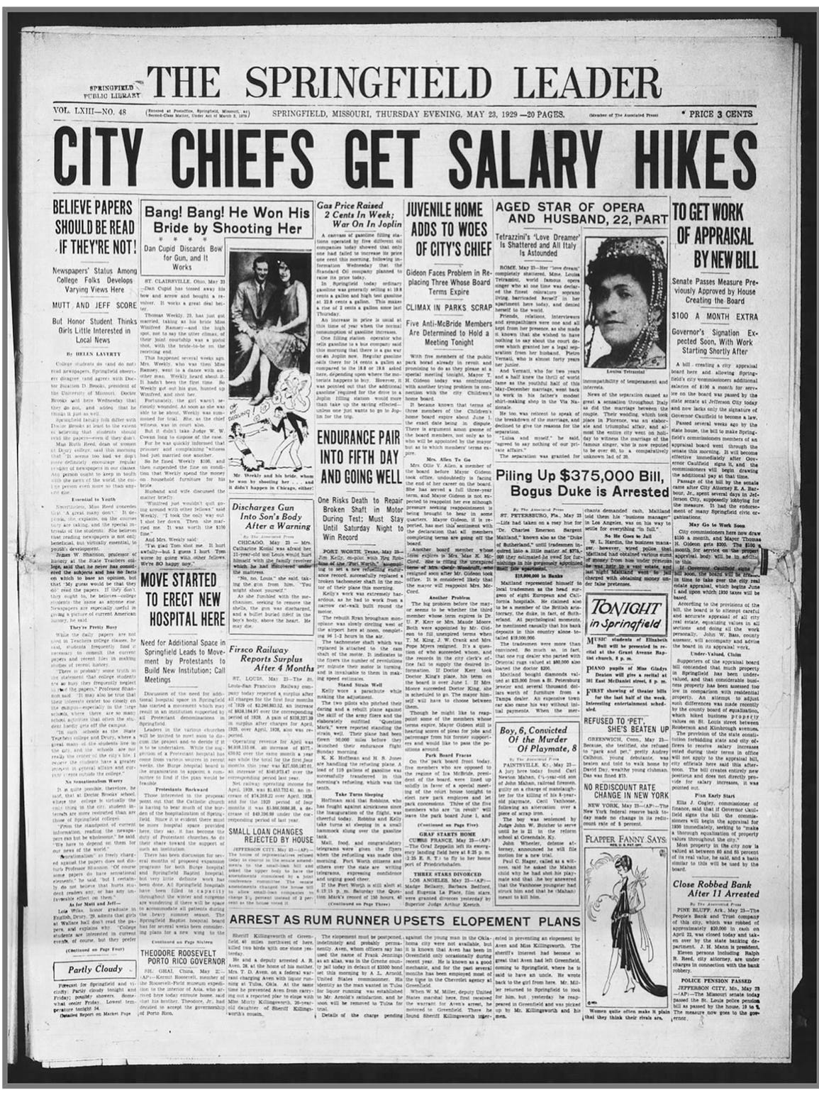 May 23, 1929, edition of the Leader.