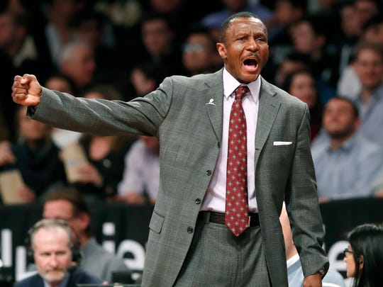 Toronto Raptors head coach Dwane Casey yells toward the referee during the second half of an NBA basketball game against the Brooklyn Nets, Tuesday, March 13, 2018, in New York. The Raptors defeated the Nets 116-102. (AP Photo/Kathy Willens)