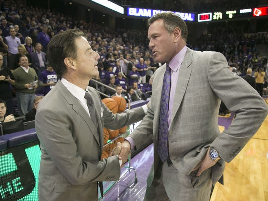 Louisville head coach Rick Pitino shakes hands with GCU head coach Dan Majerle during before the college basketball game at Grand Canyon University in Phoenix on Saturday, December 3, 2016.