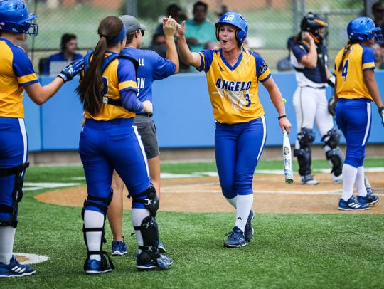 Angelo State players cheer on teammates against Texas