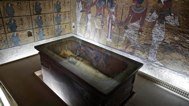 The tomb of King Tut is displayed in a glass case at the Valley of the Kings in Luxor, Egypt, on Sept. 29, 2015.