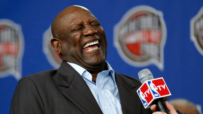 Former NBA player Spencer Haywood laughs during a news conference announcing him as a finalist for the Naismith Basketball Hall of Fame on Feb. 14, 2015, in New York.
