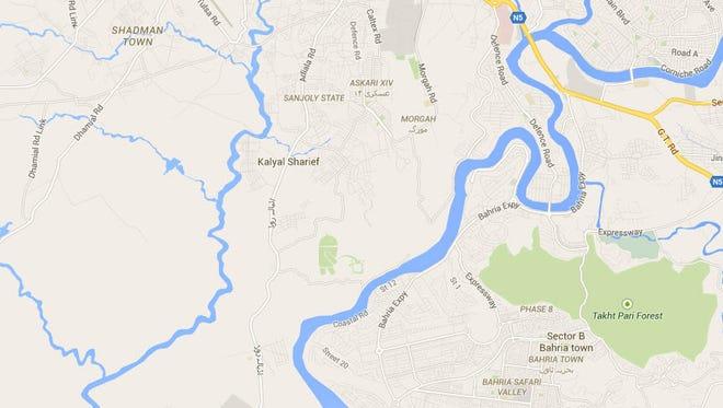 Snapshot of Google Maps over Rawalpindi, Pakistan