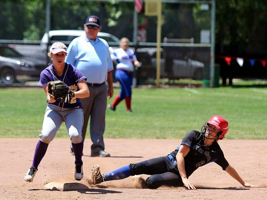 Sydney Cross of Mount Shasta is out at second in the Lions All-Star game that was played Saturday at Hooker Oak Park in Chico.