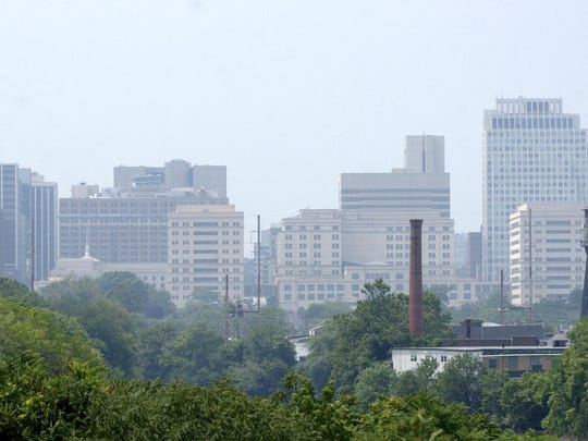 Wilmington skyline from near the Delaware River. The