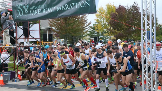 The Lakefront Marathon, shown in 2015, starts in Grafton. Race day is Sunday.