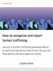 Uber is launching a new awareness campaign for drivers that aims to have them help on the war against human trafficking.