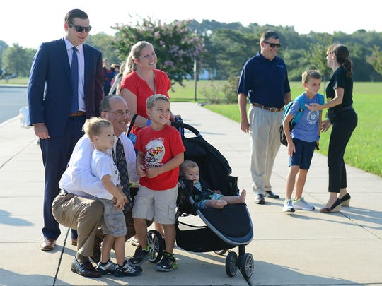 Worcester County Superintendent Lou Taylor greets kids and parents on their first day of school at Ocean City Elementary on Tuesday, Sept. 5, 2017.