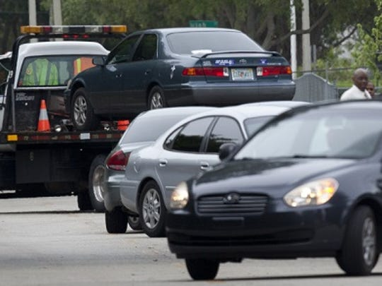 A vehicle allegedly stolen by Antonio Thomas is towed