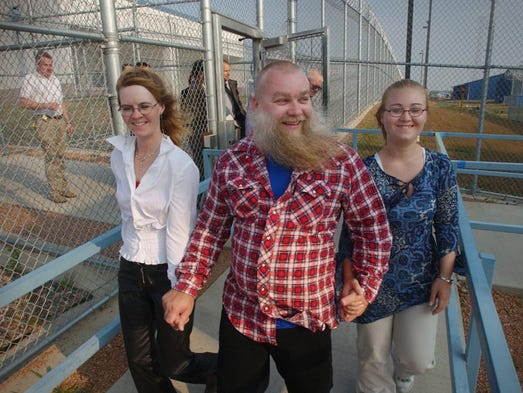 Steven Avery, middle, walks out of the Stanley Correctional