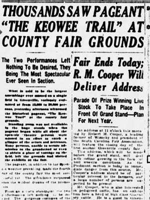 An article in The Greenville News on Nov. 12, 1921.