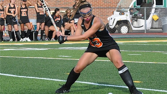 Mamaroneck's Emily Mahland prepares to drive the ball
