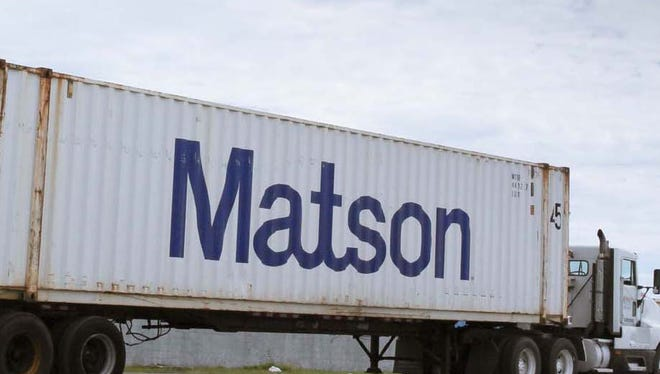 A truck carrying a Matson container is shown in this file photo.