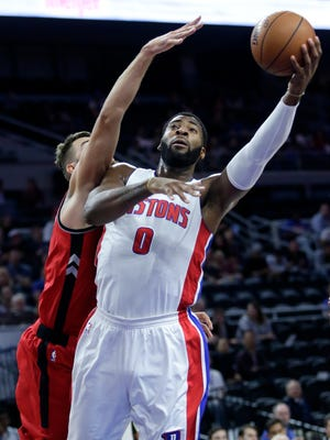 Andre Drummond puts up a shot against Toronto in the season opener on Wednesday night.
