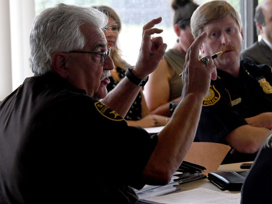 Oakland County Undersheriff Mike McCabe asks questions as members of the Auto Theft Prevention Authority hold a special meeting on Tuesday, July 17, 2018 in Dimondale.