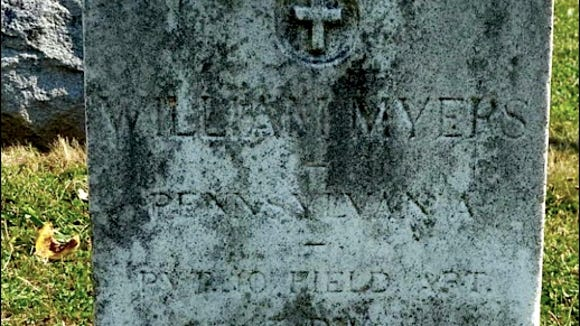 """Grave stone of William H. Myers in Soldiers' National Cemetery at Gettysburg. (William Myers, Pennsylvania, Private, 10th Field Artillery, 3rd Division, died July 15, 1918; located in """"Section 8,"""" Site 49)"""