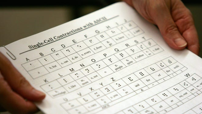 A help sheet is used during a Braille boot camp for sighted people at the Braille Institute in Rancho Mirage.
