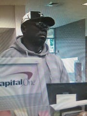 Surveillance image of robbery suspect.