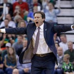 Utah Jazz head coach Quin Snyder shouts to his team against the Memphis Grizzlies Saturday, Nov. 7, 2015, in Salt Lake City.