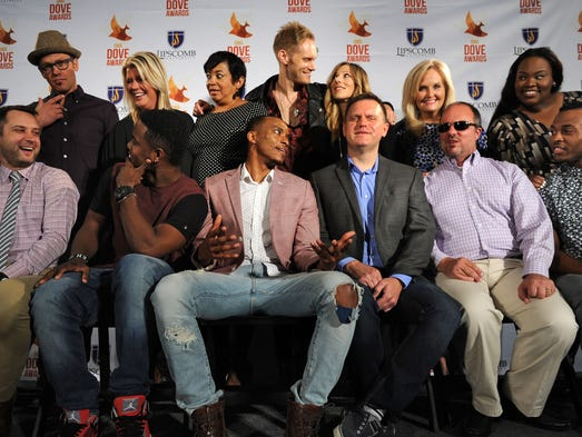Artists pose for a photo at the 45th annual GMA Dove Awards presentation announcements at the Allen Arena Hall of Fame at Lipscomb University. From left to right are Toby Mac, Natalie Grant, Jackie Patillo, Love & The Outcome, Karen Peck, Tasha Cobbs,  First row (L-R) Brandon Heath, KB, Jonathan McReynolds, Wayne Haun, Gordon Mote and Flame  on Wednesday, Aug, 13, 2014, in Nashville.