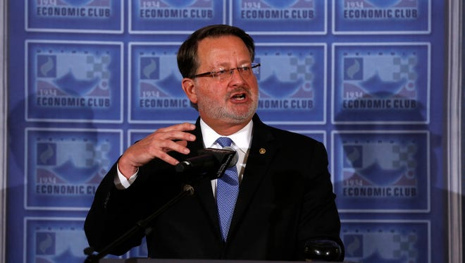 U.S. Sen. Gary Peters speaks at the Detroit Economic Club Meeting in Detroit on Monday, February 5, 2018.
