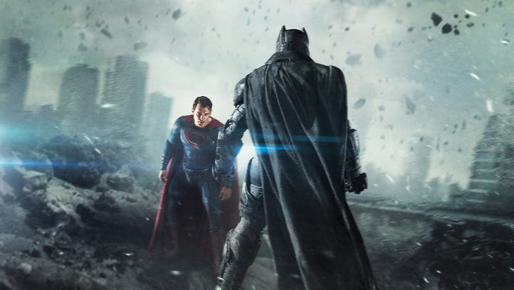 Ben Affleck and Henry Cavill's superheroes don't really get along in or out of their costumes at the start of 'Batman v Superman: Dawn of Justice.'
