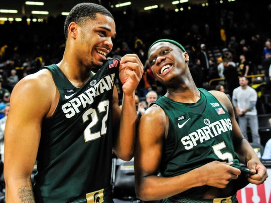 MSU's Miles Bridges, left, and Cassius Winston celebrate