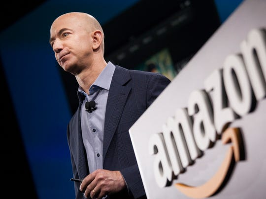 Amazon founder and CEO Jeff Bezos presents the company's
