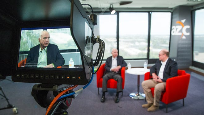 Sen. John McCain does Facebook Live with politics editor Michael Squires at The Arizona Republic in downtown Phoenix, Aug. 3, 2017.