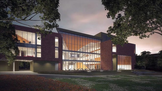 A rendering of the facade of a planned expansion of the Eli Broad College of Business on the campus of Michigan State University slated to open in fall 2019.