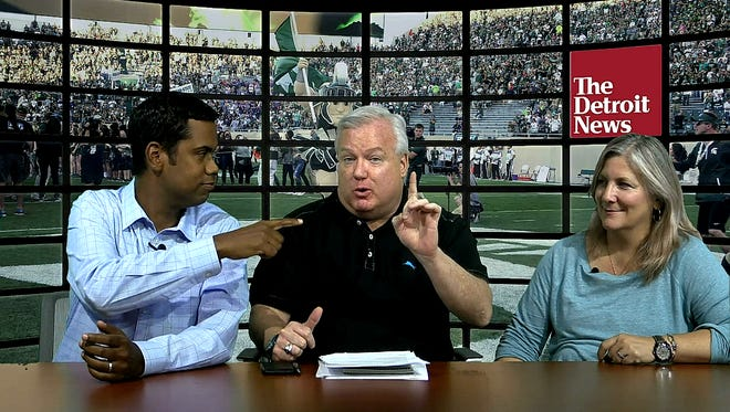 John Niyo, from left, Bob Wojnowski and Angelique S. Chengelis talk about the Spartans and Wolverines in the Detroit News' College Football Show.