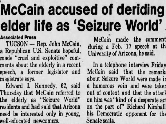 A newspaper clipping from The Arizona Republic paper published on June 21, 1986, about McCain's 'Seizure World' comment.
