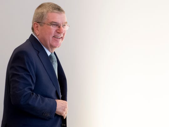 President Thomas Bach from Germany arrives at the opening of the first day of the executive board meeting of the International Olympic Committee, in Lausanne, Switzerland, in this March 26 file photo. Bach will make a one-day stop on Guam on May 10.