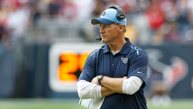 Tennessee Titans head coach Ken Whisenhunt on the sidelines in the third quarter against the Houston Texans at NRG Stadium. The Texans beat the Titans 45-21.