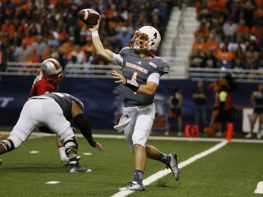 Oct 4, 2014; San Antonio, TX, USA; UTSA Roadrunners quarterback Blake Bogenschutz (4) throws the ball against the New Mexico Lobos during the second half at Alamodome. New Mexico Lobos won 21-9. Mandatory Credit: Soobum Im-USA TODAY Sports