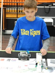 Hunter Campbell, of the East Picacho Elementary Titan Tigers, participates in the First Lego League qualifier, which took place Nov. 19, in Las Cruces.