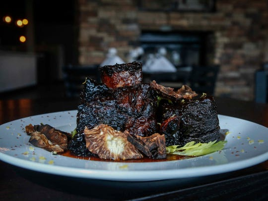 Lacquered short ribs, lemon-thyme potato and celery