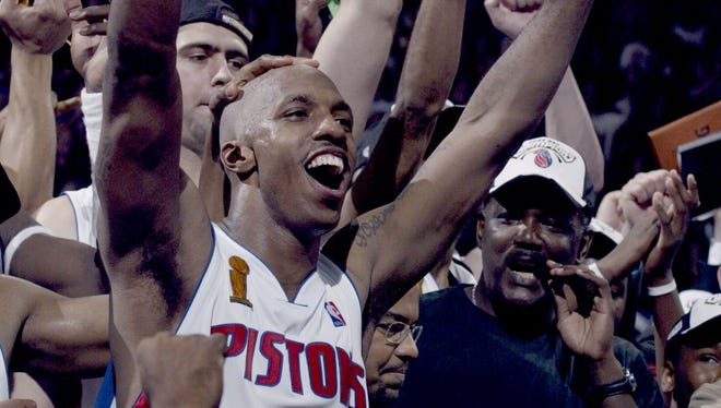 Detroit Pistons guard and NBA Finals MVP Chauncey Billups celebrates the 100-87 victory over the Lakers to win the NBA championship in Game 5 on June 15, 2004 at the Palace.