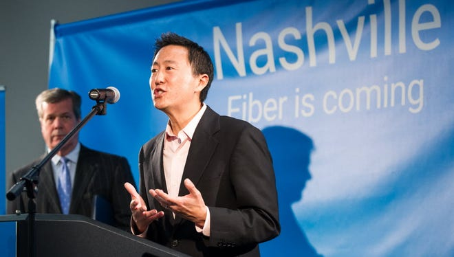 Kevin Lo, general manager of Google Fiber, announces Nashville has been selected for Fiber during a press conference in January 2015.