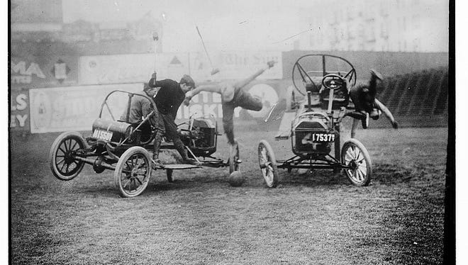 Auto polo match in the 1910s.