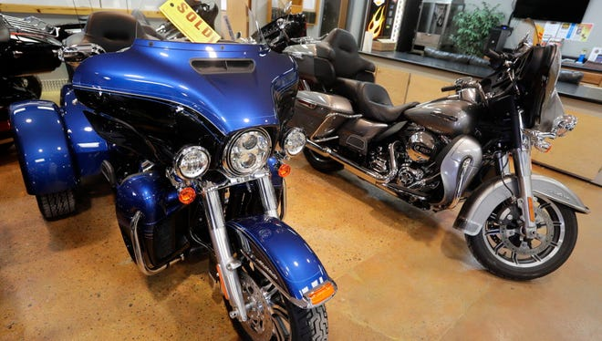 A 2018 Harley-Davidson Tri Glide Ultra edition is sold at Suburban Motors in Thiensville.