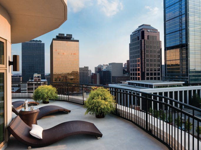 A wrap around terrace offers a panoramic view of Downtown Indianapolis.