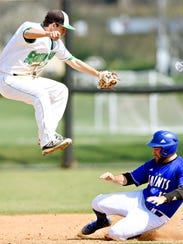 York College's Zach Hossler comes down from a catch