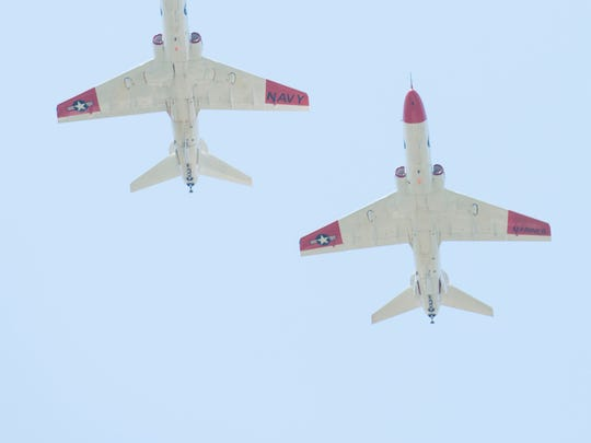 A pair of T-45 Goshawks fly over Barrancas National