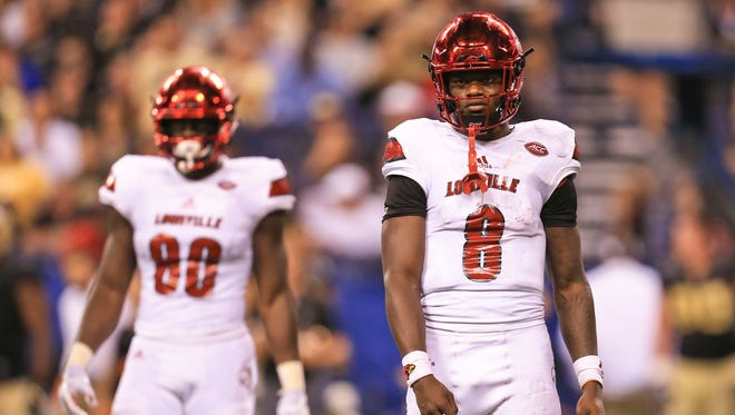Louisville's Lamar Jackson reacts after a pass fell incomplete while playing against Purdue at Lucas Oil Field Sept. 2 in Indianapolis.