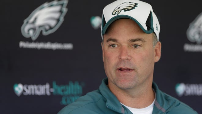Philadelphia Eagles defensive coordinator Bill Davis  speaks during a news conference ahead of practice at the NFL football team's training facility, Tuesday, Oct. 22, 2013, in Philadelphia. (AP Photo/Matt Rourke)